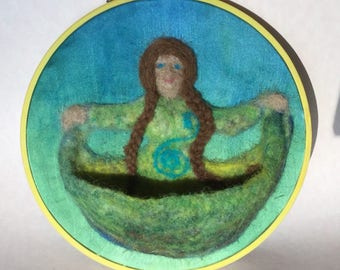 Spring Mother Earth Wall Hanging for the Nature Table, Waldorf needle-felted Gaia wool, silk