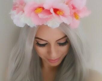 Light Pink Floral Crown, Flower Headpiece, Pink Flower Crown