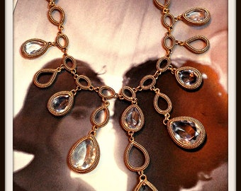 Vintage Gold Clear Bezel Statement Necklace Pendant Goldette FREE SHIPPING