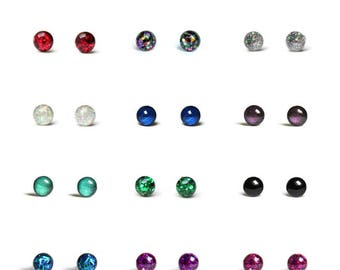 Pair of Tiny stud earrings - Glitter teeny tiny stud earring set with hypoallergenic surgical steel posts - 4mm studs - Pick one color