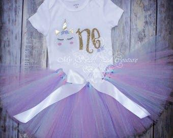 Unicorn First Birthday Tutu Outfit- Cake Smash Outfit- 1st Birthday Outfit- Unicorn Birthday- 1st Birthday Outfit- One- Unicorn Party