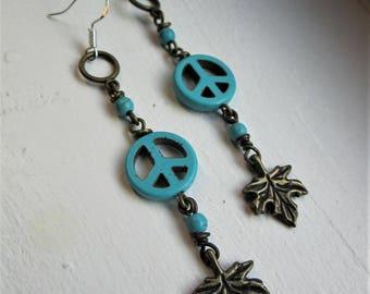 Turquoise Peace Sign + Maple Leaf Charm Beaded Dangle Earrings
