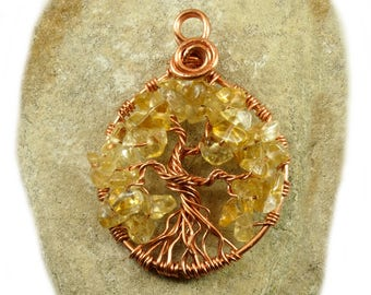 November birthstone necklace, Yggdrasil, Citrine necklace, Tree-of-life jewelry, Celtic tree pendant, Wire wrapped tree-of-life, Amulet