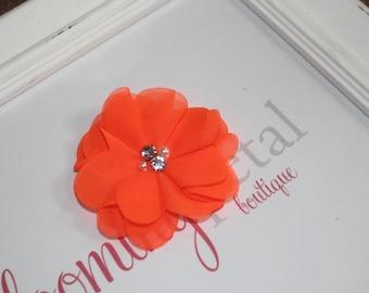 Neon Orange Chiffon Rhinestone/Pearl Flower Clip