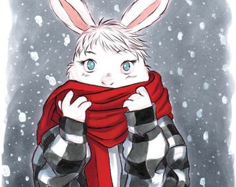 Bunny with Scarf in the Snow INKtober Fashion Art Print