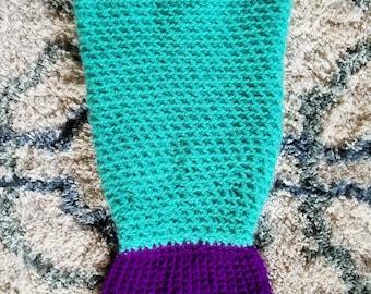 Crochet newborn baby mermaid tail sleep sack, blanket, cocoon, bunting, photo prop