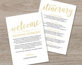 Gold Welcome Letter Template / Gold Welcome Bag Note / Printable Wedding Itinerary Template / Wedding Itinerary Instant Download