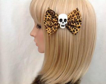 Leopard print skull hair bow clip rockabilly psychobilly gothic Lolita rock punk pin up girl creepy skeleton sugar horror fabric ladies