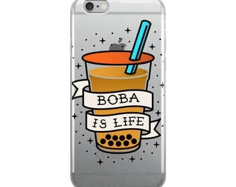 "Boba Phone Case ""Boba is Life"" Traditional Tattoo Style iPhone Case"