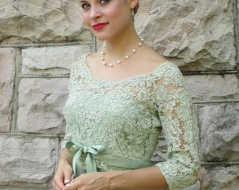 1950s Celadon Green Sheath Wiggle Dress with Lace Soutache Bodice