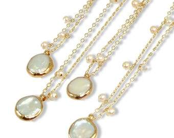 Pearl Necklace,Pearl, Wedding jewelry, June Birthstone, Bridal Pearl Jewelry, Bridesmaids Gift, Coin Pearl Necklace, Gold Pearl Pendent.