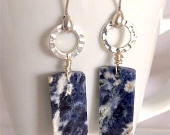 Lapis Lazuli Earrings, Natural Stone Earrings, Silver Earrings, Minimalist Earrings, Long Earrings, Blue Earrings, Lapis Earrings, Organic