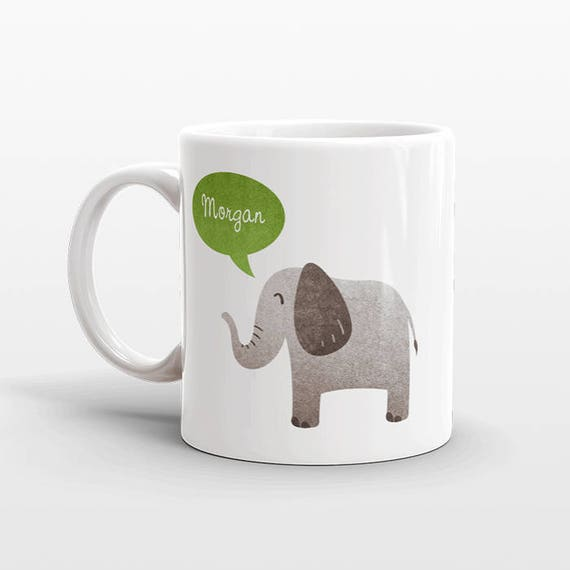 Custom Name Mug, Elephant Mug, Personalized Mug, Unique Coffee Mug, Office Mug, Best Friend Gift, Birthday Gift, Cute Animal Lover Gift