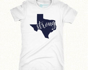 XL Heather Grey with Navy Texas Strong Ladies Tee | Hurricane Harvey | Houston Strong Tee | Houston Charity