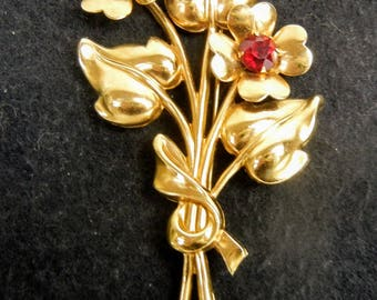 Vintage High Fashion Designer Coro SIgned Gold Flower Bouquet with Maroon Garnet Brooch