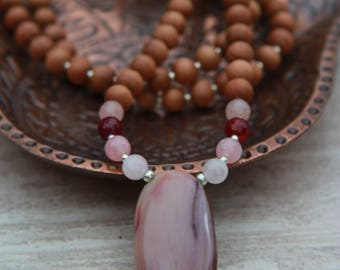 Royal Imperial Jasper Sandalwood Mala- Exclusive One-of-a-kind/  Meditation Inspired Yoga Beads BOHO chic / Mala beads