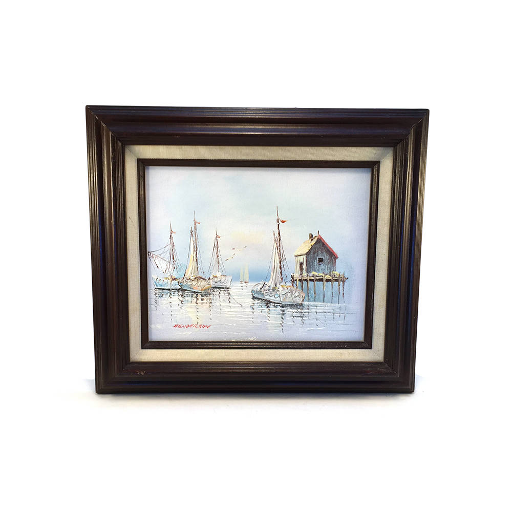 vintage original sailboat harbor ship painting signed framed