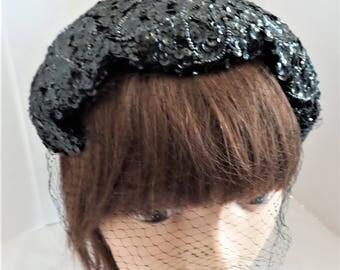 Vintage Black Sequin Capulet
