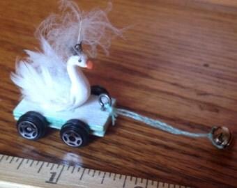 Dollhouse miniature swan pull toy