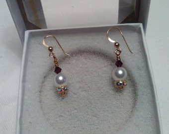 Earrings-14K Gold French Loop Pearl w/Rondelle & Swarovski Accents