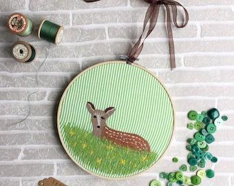 Fawn Design, Deer Embroidery, Embroidery Ring, Baby Deer, Deer Art, Machine Embroidery, Wild Animal, Hoop Art, Woodland Animals