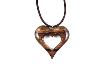 Wood Heart Necklace, Wooden Heart Pendant, Heart Pendant, Heart Necklace, 5th Anniversary Gift for Her, Wood Jewelry, Wood Heart Jewelry