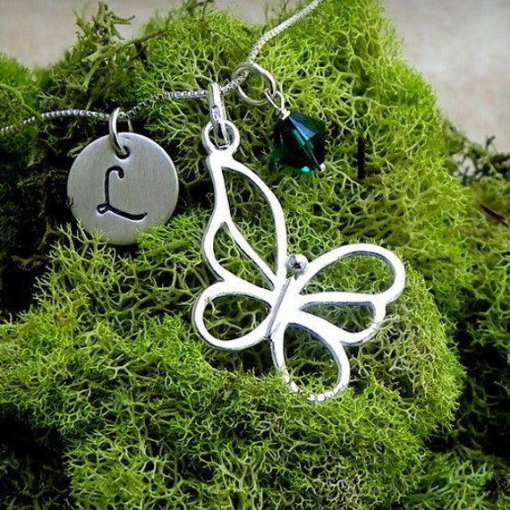 Butterfly necklace, sterling silver necklace, charm necklace, pendant necklace, handmade necklace, mythical necklace