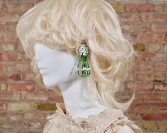 oversized beaded earrings / kelly green / dangle earrings / clip earrings / greenery / large clip earrings / lightweight earrings / drop