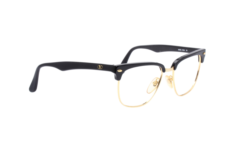 Valentino Vintage 80s classy black & gold squared clubmaster ...