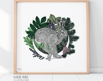 "12"" x 12"" Summer Hare Giclée Print on Luxury Somerset Stock"