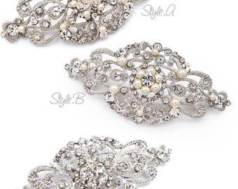 Wedding Barrette Hair Clip Swarovski Pearl Rhinestone Hair Clip Bridal Barrette hair accessory Wedding Jewelry Wedding Accessory Aimee