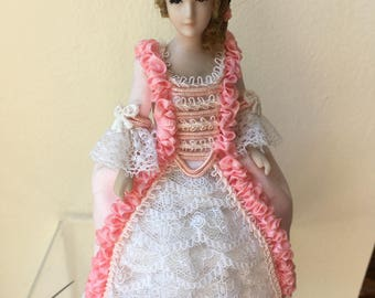 """Dollhouse Miniature Porcelain Lady Doll in Pink Dress 1"""" scale (PT)"""