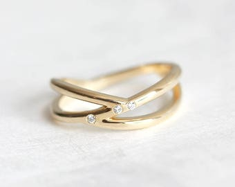 Promise Ring, Knot Ring, Gold Knot Ring, Diamond Knot Ring, Double Band, Double Gold Ring, Diamond Wedding Ring, Diamond Wedding Band