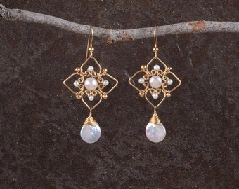 Gold Pearl Geometry Earrings,Pearls Unique Earrings,Ethnic Earrings, Elegant Earrings, Dangle Earrings, Pearls Jewelry, 14K Gold Filled