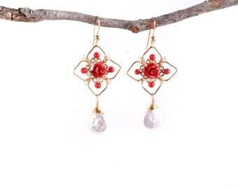 Geometry Earrings, Red Coral Pearls Earrings,Ethnic Earrings,Chandelier Earrings,Red Coral Earrings,Geometry Jewelry, 14K Gold Filled,Flower