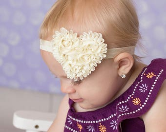 Cream heart headband rosette headband baby headband girls headband toddler headband heart headband made to order MORE colors