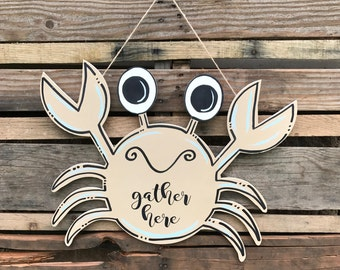 """Sand Crab Door Hanger, """"Gather Here"""" Finished Product, Wall Decor, Art"""