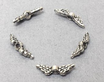 200Pc Small Winged Beads, Pewter, Antique Silver Finish 12mm, Silver angel wing beads, Silver wing beads, angel beads- PBF310