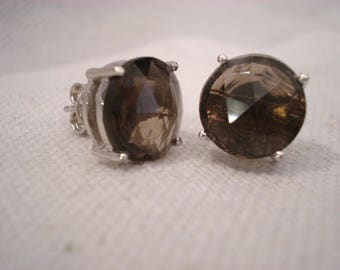 Smokey Quartz Sterling Silver Earrings Stud Elegant Large Round Solitaires Well Made Craftsmanship High Quality Well Done Sparkle