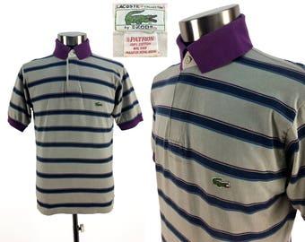 Vintage 70s - 80s LACOSTE Knit Striped Polo Shirt MEDIUM // Crocodile // 1970s // Mens // Pullover // Golf Shirt // Retro // M // Throwback