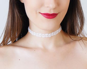 Tattoo Choker White Choker Beaded Choker Bridal Necklace Gift For Her Gothic Choker Retro Jewelry GiftInspirational/ BEDDA