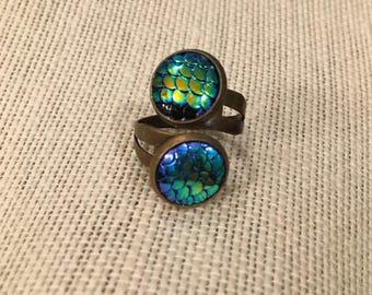12mm Blue-Green Mermaid Scales Double Bezel Bronze Adjustable Ring