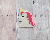 Unicorn Accessory, Embroidered White Glitter Vinyl with Choice of Headband, Pin, Magnet, Hair Clip, Ponytail, Shoe Clip, Unicorn Barrette