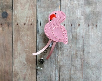 Flamingo Badge Clip, Retractable ID Holder, Light Pink Embroidered Vinyl, Badge Reel, Choice of Clip Styles, Pink Flamingo Clip, Made in USA