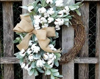Lambs Ear Cotton Wreath, Burlap Wreath, Spring Wreath, Cottage Wreath, Front Door Wreath, Fixer Upper Decor, Cotton Boll, Farmhouse Wreath