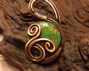 green jasper ring gemstone ring wire wrapped jewelry handmade copper wire jewelry wire wrapped ring handmade