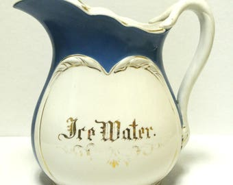 Antique Early 1900s Hotel Ice Water Pitcher Victorian Hotelware Collectible Hotel China Restaurantware Ironstone