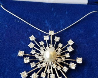 Jackie Kennedy Starburst Necklace - Crystal Pendant, Box and Certificate