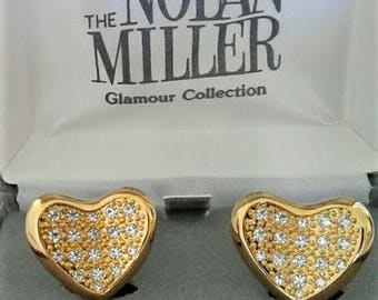 Nolan Miller Heart Earrings - Gold Tone with Crystals  - Clip On - S2306