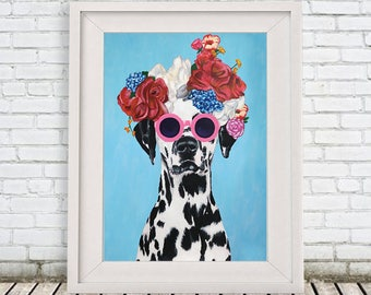 Dalmatian Print, dalmatian Illustration Art Poster Acrylic Painting Kids Decor Drawing Gift, Dalmatian with flowers, Frida Kahlo